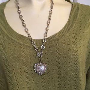 Jewelry - SALE!Unusual Chunky Glass Heart &Wire Embezzlement